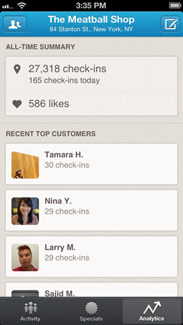 """Foursquare for Business""  iPhone ekran görüntüsü"