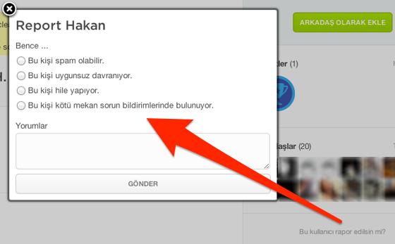 Web sitesi üzerindeki raporlama ekranı